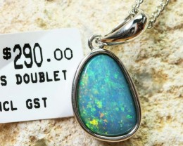 Doublet Opal set in hand made silver Pendant 192260-DO