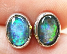 Gem triplet  Opal set in  silver Earrings BU1316
