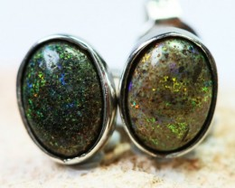 Solid  Opal set in  silver Earrings BU1321