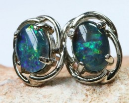 Triplet  Opal set in  silver Earrings BU1330