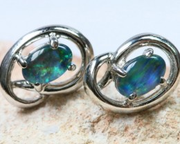 Triplet  Opal set in  silver Earrings BU1331