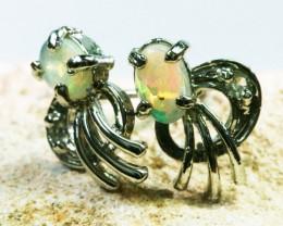 Solid Crystal Opal set in Silver Earrings BU1343