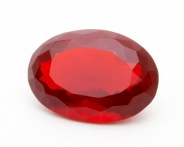 8.1ct Faceted Red Oval Mexican Fire Opal (MO192)