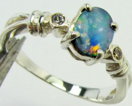 Opal Doublet  set in Silver ring size 6.5  PL 842