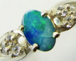 Opal Doublet  set in Silver ring size  7 PL 854