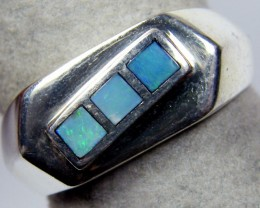 MULTI INLAY OPAL WIDE SILVER RING SIZE 8 MYJA 1061