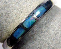 MULTI INLAY OPAL SLIM SILVER RING SIZE 7 MYJA 1049