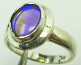 Opal Crystal set in Silver ring size 6.5 PL 886
