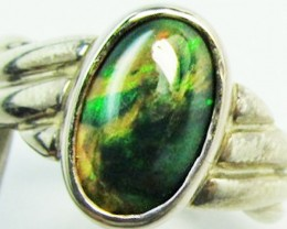 Opal soLid black set in Silver ring size 6.5 PL 885