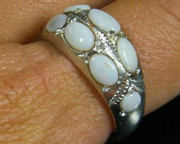 TRIBAL MULTI OPAL TIBETAN SILVER RING SIZE 12 TR581