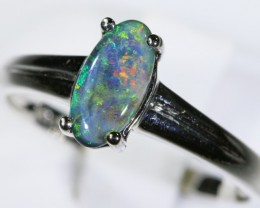 Black opal 18k White Gold Ring size7 BU1499