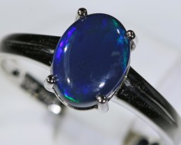 Black opal 18k White Gold Ring size7.5  BU1501
