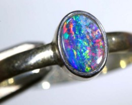 8.85 CTS DOUBLET OPAL SILVER RING OF-1257