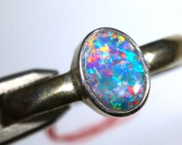 8.80 CTS DOUBLET OPAL SILVER RING OF-1258