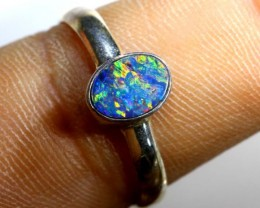 9 CTS DOUBLET OPAL SILVER RING OF-1261