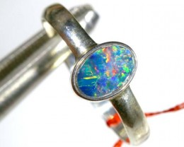9 CTS DOUBLET OPAL SILVER RING OF-1265