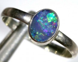 9.20 CTS DOUBLET OPAL SILVER RING OF-1266