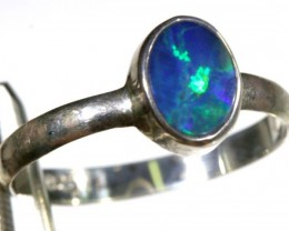 9 CTS DOUBLET OPAL SILVER RING OF-1270