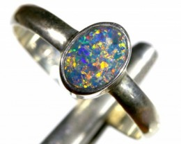 8.80 CTS DOUBLET OPAL SILVER RING OF-1272