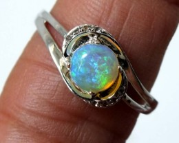 11.15 CTS WHITE OPAL SILVER RING OF-1282