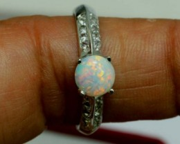 13.15 CTS WHITE OPAL SILVER RING OF-1284