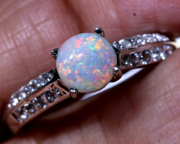 13.15 CTS CRYSTAL  OPAL SILVER RING OF-1284 OPALSFOREVER