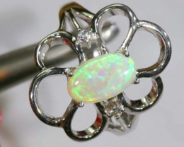 22.20 CTS WHITE OPAL SILVER RING OF-1291