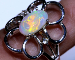 22.20 CTS CRYSTAL   OPAL SILVER RING OF-1291 OPALSFOREVER