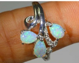 18.75 CTS WHITE OPAL SILVER RING OF-1294