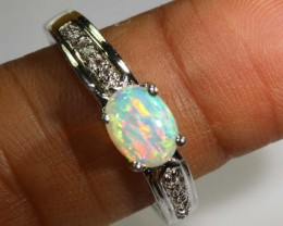 16.20 CTS WHITE OPAL SILVER RING OF-1296