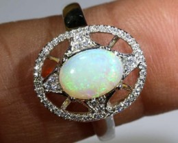 12.25 CTS WHITE OPAL SILVER RING OF-1299-opalsforever