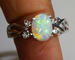 11.25 CTS WHITE OPAL SILVER RING OF-1300