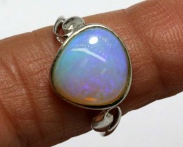 11.85 CTS WHITE OPAL SILVER RING OF-1304