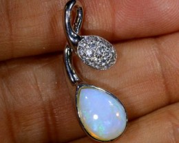 9.80 CTS WHITE OPAL GOLD PENDANT OF-1308