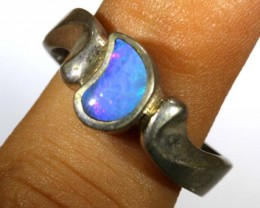 25.85 CTS DOUBLET OPAL SILVER RING OF-1312