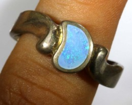 27.60 CTS DOUBLET OPAL SILVER RING OF-1313