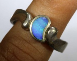 26.15CTS DOUBLET OPAL SILVER RING OF-1314