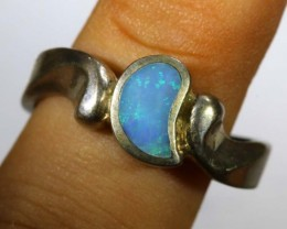 27.75 CTS DOUBLET OPAL SILVER RING OF-1317