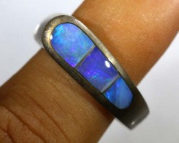 24.85 CTS DOUBLET OPAL SILVER RING OF-1318