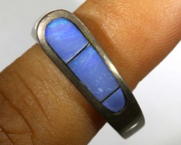 25.05 CTS DOUBLET OPAL SILVER RING OF-1319