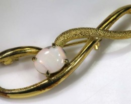 33 CTS GOLD PLATED SILVER OPAL BROACH OF-1280