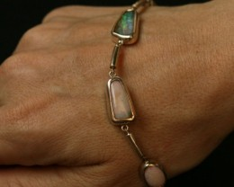 FIVE BOULDER OPAL PIECE SILVER BRACELET ML89