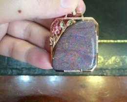 18K Gold Andamooka matrix opal pendant