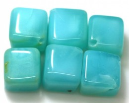 58.58 CTS PERUVIAN BLUE OPAL BEADS DRILLED PARCEL (6PCS)  LO-3764