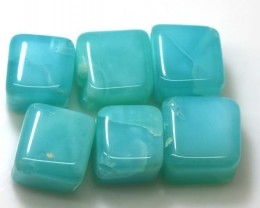 59.35 CTS PERUVIAN BLUE OPAL BEADS DRILLED PARCEL (6PCS)  LO-3766
