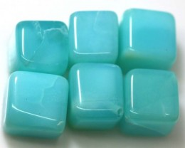 57.90 CTS PERUVIAN BLUE OPAL BEADS DRILLED PARCEL (6PCS)  LO-3769