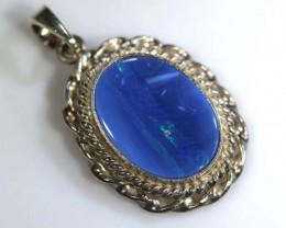 13.75 CTS STERLING SILVER DOUBLET OPAL PENDANT OF-39