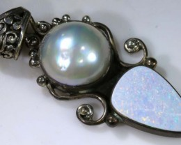 39.0 CTS OXIDISED  SILVER OPAL PENDANT OF-1349