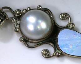 39.7 CTS OXIDISED  SILVER OPAL PENDANT OF-1350