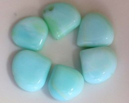 59.60 CTS PERUVIAN BLUE OPAL BEADS DRILLED PARCEL (6PCS)  LO-3826